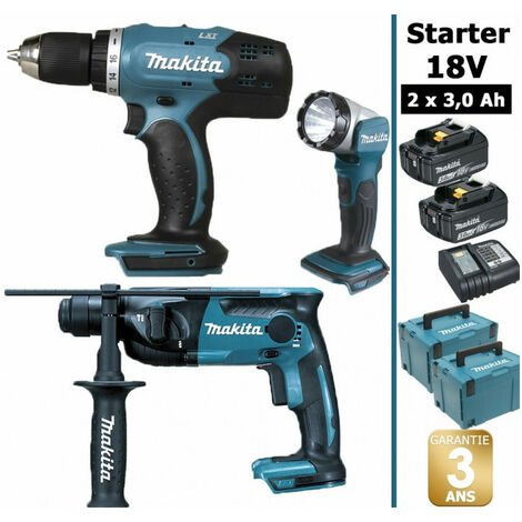Pack Makita Starter 18V: Perceuse 42Nm DDF453 + Perforateur 1,3J DHR165 + Lampe torche DEADML802 + 2 batteries 3Ah + 2 Coffrets Makpac MAKITA