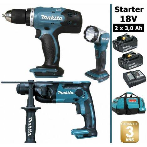 Pack Makita Starter 18V: Perceuse 42Nm DDF453 + Perforateur 1,3J DHR165 + Lampe torche DEADML802 + 2 batteries 3Ah + sac MAKITA