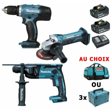 Pack Makita Starter 18V: Perceuse 42Nm DDF453 + Perforateur 1,3J DHR165 + Meuleuse 115mm DGA452 + 2 batteries 3Ah + sac ou coffrets Makpac avec vidéo - plusieurs modèles disponibles