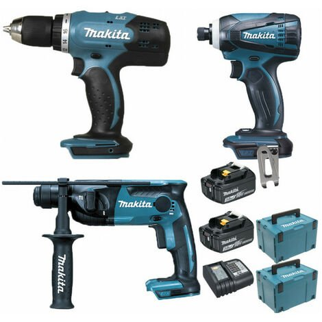 Pack Makita Starter 18V: Perceuse 42Nm DDF453 + Perforateur 1,3J DHR165 + Visseuse à choc 160Nm DTD146 + 2 batteries 3Ah + 2 Coffrets Makpac MAKITA