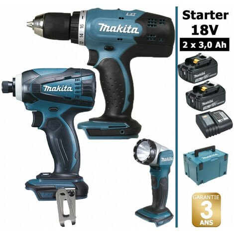 Pack Makita Starter 18V: Perceuse 42Nm DDF453 + Visseuse à choc 160Nm DTD146 + Lampe torche DEADML802 + 2 batteries 3Ah + Coffret Makpac MAKITA