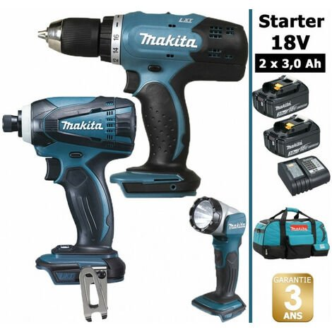 Pack Makita Starter 18V: Perceuse 42Nm DDF453 + Visseuse à choc 160Nm DTD146 + Lampe torche DEADML802 + 2 batteries 3Ah + sac MAKITA