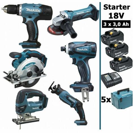 Pack Makita Starter 6 outils 18V: Perceuse DDF453 + Meuleuse DGA452 + Visseuse à choc DTD146 + Scie sauteuse DJV180 + Scie circulaire DSS610 + Scie récipro DJR183 + 3 batt 3Ah + 5 Coffrets Makpac MAKITA