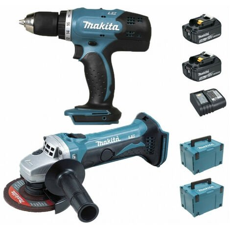 Pack Makita Starter Black Friday 18V: Perceuse 42Nm DDF453 + Meuleuse 115mm DGA452 + 2 batteries 3Ah + 2 Coffrets MAKPAC MAKITA