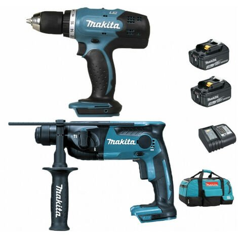 Pack Makita Starter Makita 18V: Perceuse 42Nm DDF453 + Perforateur 1,3J DHR165 + 2 batteries 3Ah + sac