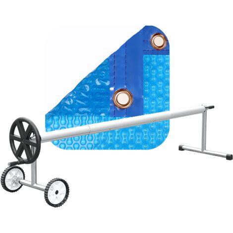 PACK MANTA TÉRMICA (COBERTOR TÉRMICO-CUBIERTA ISOTÉRMICA-TOLDO PARA PISCINA) DE 400 MICRAS GEO BUBBLE CON REFUERZO EN TODO EL CONTORNO + ENROLLADOR TELESCÓPICO DE 81mm.