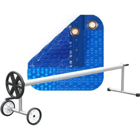 PACK MANTA TÉRMICA (COBERTOR TÉRMICO-CUBIERTA ISOTÉRMICA-TOLDO PARA PISCINA) DE 500 MICRAS GEO BUBBLE CON REFUERZO EN TODO EL CONTORNO + ENROLLADOR TELESCÓPICO DE 81mm.