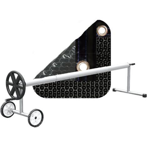 PACK MANTA TÉRMICA (COBERTOR TÉRMICO-CUBIERTA ISOTÉRMICA-TOLDO PARA PISCINA) DE 500 MICRAS NEW ENERGY CON REFUERZO EN TODO EL CONTORNO + ENROLLADOR TELESCÓPICO DE 81mm.
