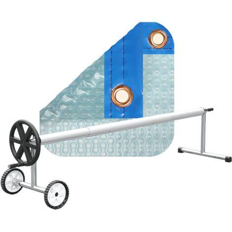PACK MANTA TÉRMICA (COBERTOR TÉRMICO-CUBIERTA ISOTÉRMICA-TOLDO PARA PISCINA) DE 500 MICRAS SOLAR ENERGY CON REFUERZO EN TODO EL CONTORNO + ENROLLADOR TELESCÓPICO DE 81mm.
