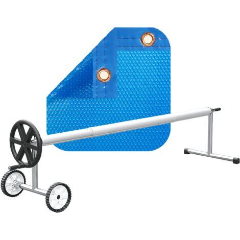 PACK MANTA TÉRMICA (COBERTOR TÉRMICO-CUBIERTA ISOTÉRMICA-TOLDO PARA PISCINA) DE 600 MICRAS ECONÓMICA CON REFUERZO EN TODO EL CONTORNO + ENROLLADOR TELESCÓPICO DE 81mm.
