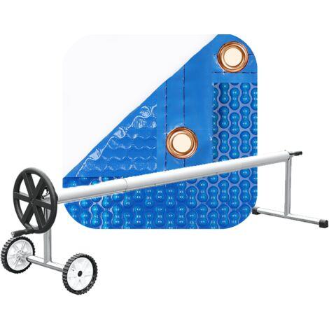 PACK MANTA TÉRMICA (COBERTOR TÉRMICO-CUBIERTA ISOTÉRMICA-TOLDO PARA PISCINA) DE 700 MICRAS REFORZADA CON POLIETILENO CON REFUERZO EN TODO EL CONTORNO + ENROLLADOR TELESCÓPICO DE 81mm.