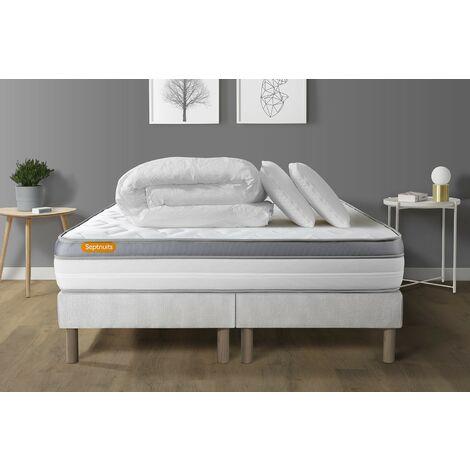 Pack matelas 160x200 + double sommiers 80x200 Memo Zen Mousse à mémoire de forme 5 zones de confort MAXI épaisseur