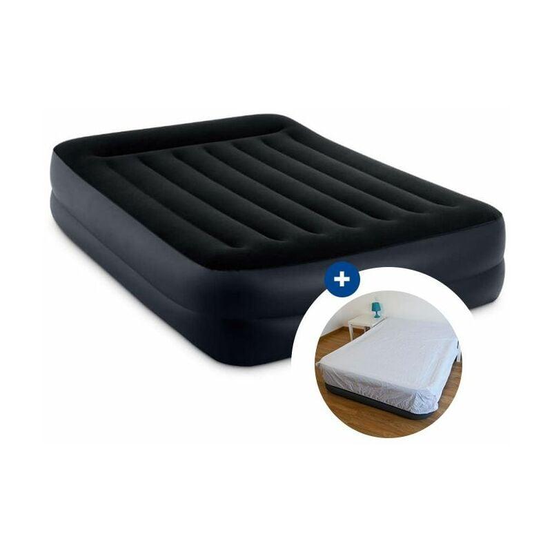 Pack Matelas Gonflable Intex Rest Bed Fiber Tech 203 X 152 X 42 Cm Drap Housse