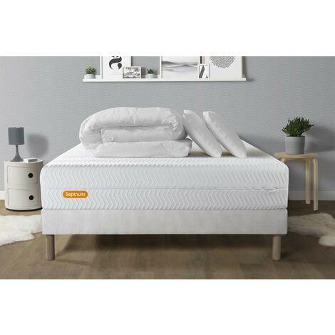 PACK Matelas + sommier 140x190 Memo Bio Mousse à mémoire de forme 5 zones de confort Maxi épaisseur + Couette + 2 oreillers