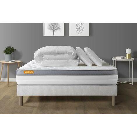 Pack matelas + sommier 140x190 Memo Zen Mousse à mémoire de forme 5 zones de confort MAXI épaisseur + Couette + 2 oreillers