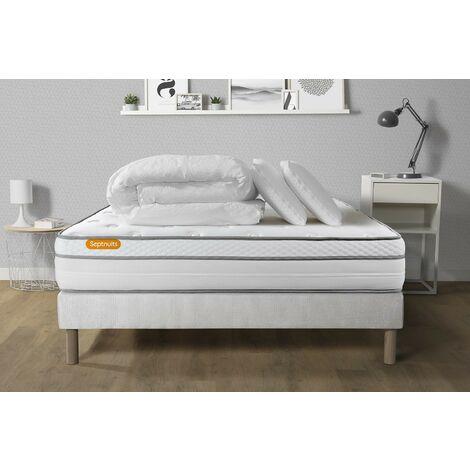 Pack matelas + sommier 140x200 Memo Luxe Ressorts ensachés + mémoire de forme 5 zones de confort MAXI épaisseur