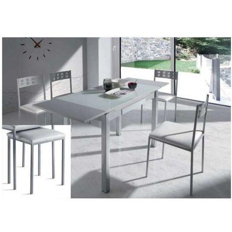 Pack mesa comedor extensible con cajón + 4 taburetes