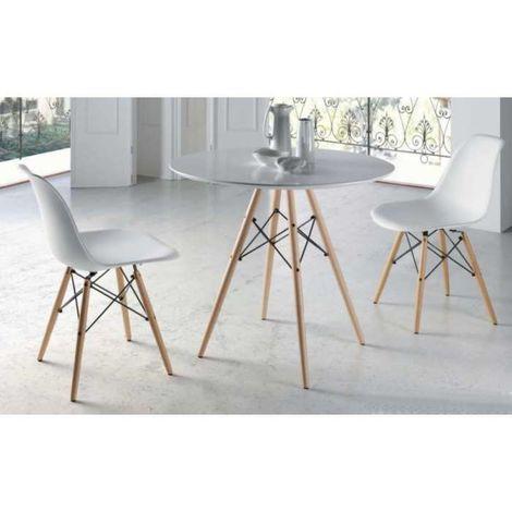 Pack mesa comedor redonda madera lacada blanca patas haya y 2 sillas Color  Blanco