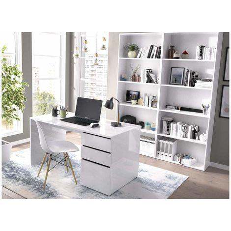 Pack mesa oficina + 2 estanterías con 6 baldas buck de 2 cajones y 1 puerta