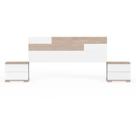pack mesitas y cabecero moderno, cabecero de 160cm, anclajes de pared incluidos, guias metálicas, color roble aurora y blanco, colección Erika