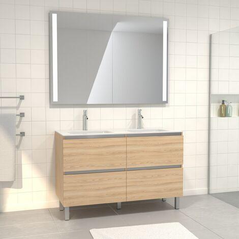 Pack Meuble de salle de bain 130x50 cm Chêne blond + vasque blanche + Miroir Double à LED
