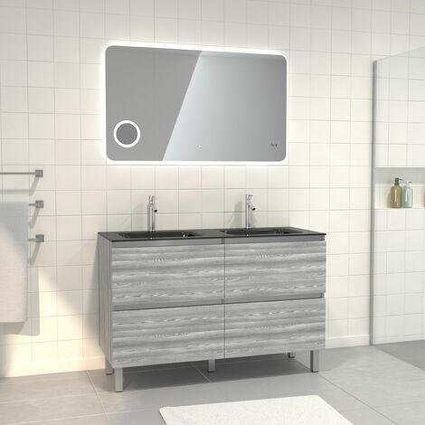 Pack meuble de salle de bain 130x50 cm Chêne gris-blanc + vasque Noir + Miroir LED 120x70