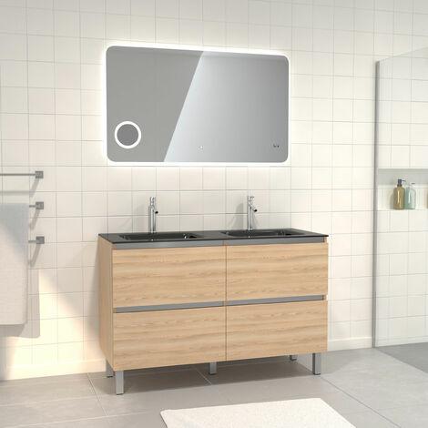 Pack Meuble de salle de bain 130x50 cm finition Chêne blond + vasque noir + Miroir LED 120x70