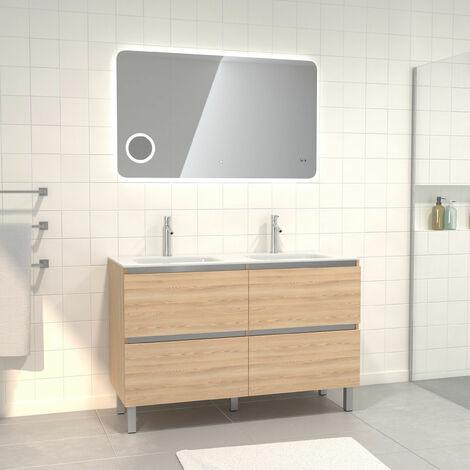 Pack meuble de salle de bain 130x50 cm finition Chêne blond + vasque verre blanc + Miroir LED 120x70