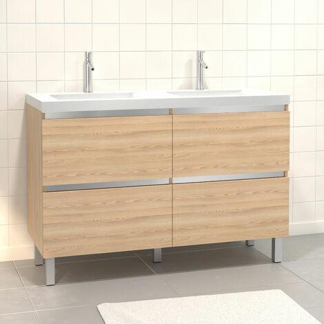 Pack Meuble de salle de bain 130x50 cm MDF Chêne blond - 2 Tiroirs + vasque blanche
