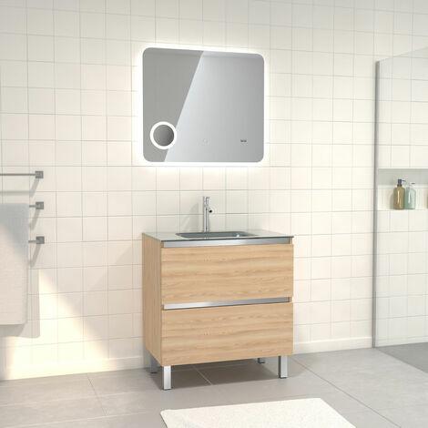 Pack Meuble de salle de bain 80x50 cm Chêne blond + vasque Argent + miroir LED 80x70