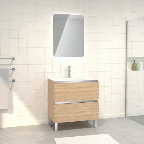 Pack Meuble de salle de bain 80x50 cm Chêne blond + vasque verre blanc + miroir LED 60x80