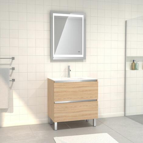 Pack Meuble de salle de bain 80x50 cm Chêne blond + vasque verre blanc + miroir LED 70x90