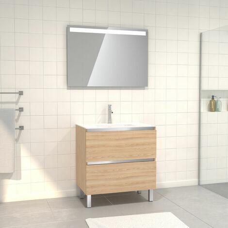 Pack Meuble de salle de bain 80x50 cm Chêne blond + vasque verre blanc + miroir LED 80x60