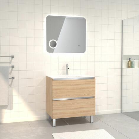 Pack Meuble de salle de bain 80x50 cm Chêne blond + vasque verre blanc + miroir LED 80x70