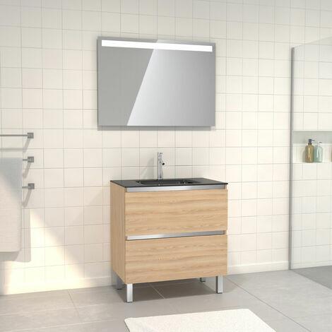 Pack Meuble de salle de bain 80x50 cm Chêne blond + vasque verre noir + miroir a bande LED