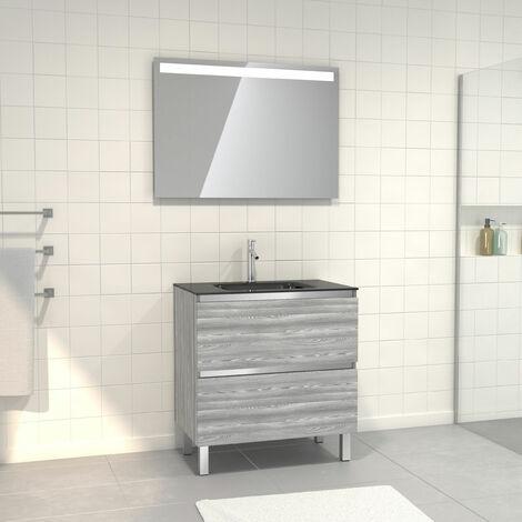 Pack Meuble de salle de bain 80x50 cm Chêne gris-blanc + vasque noir + miroir a bande LED 80x60