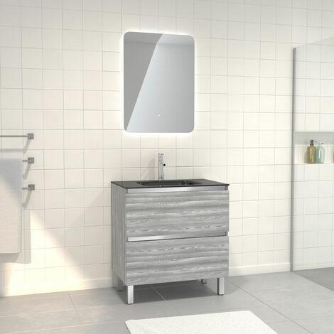 Pack Meuble de salle de bain 80x50 cm Chêne gris-blanc + vasque verre noir + miroir LED 60x80