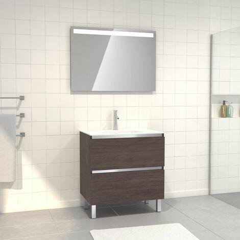 Pack Meuble de salle de bain 80x50 cm Graphite + vasque verre blanc + miroir a bande LED 80x60