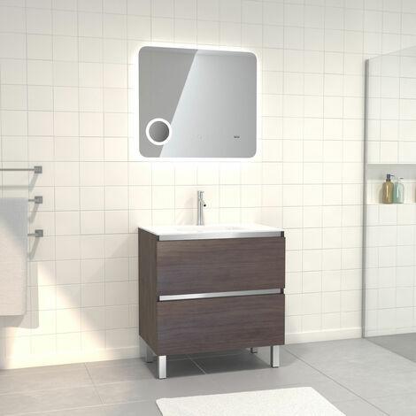 Pack Meuble de salle de bain 80x50 cm Graphite + vasque verre blanc + miroir LED 80x70