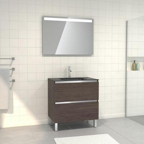 Pack Meuble de salle de bain 80x50 cm Graphite + vasque verre noir + miroir a bande LED 80x60