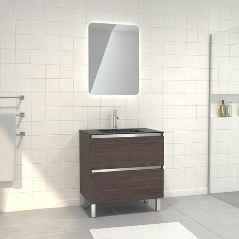 Pack Meuble de salle de bain 80x50 cm Graphite + vasque verre noir + miroir LED 60x80