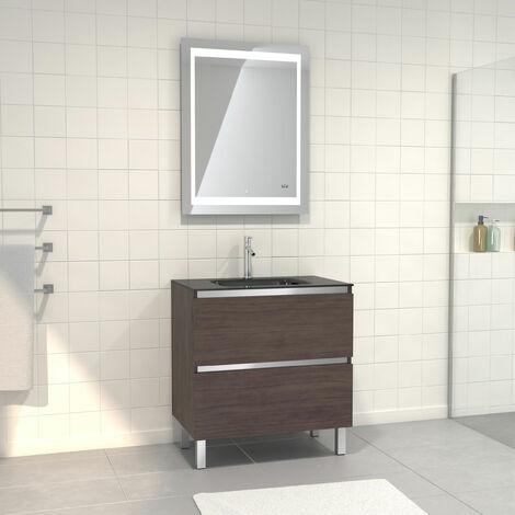 Pack Meuble de salle de bain 80x50 cm Graphite + vasque verre noir + miroir LED 70x90