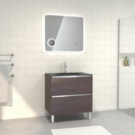 Pack Meuble de salle de bain 80x50 cm Graphite + vasque verre noir + miroir LED 80x70