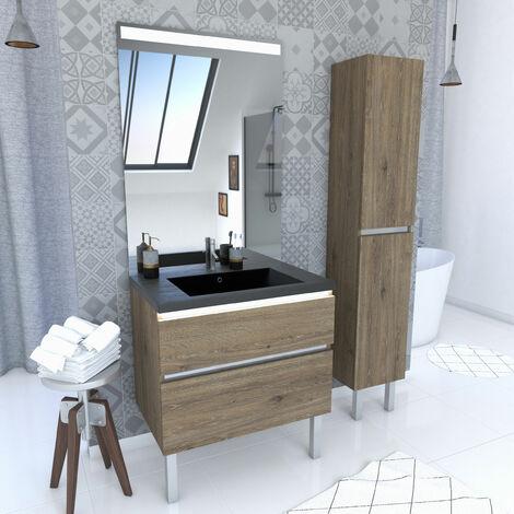 Pack meuble de salle de bain 80x50cm chene brun - 2 tiroirs - vasque effet noir et miroir - colonne
