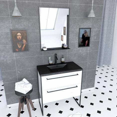 Pack meuble salle de bain 80x50 Blanc -2 tiroirs noir - vasque noir effet pierre et miroir noir mat