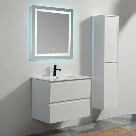 Pack Meuble vasque suspendu City 80 cm + Miroir Rétro-éclairage LED Connec't 80 Contenu du pack - 1483-defaultCombination