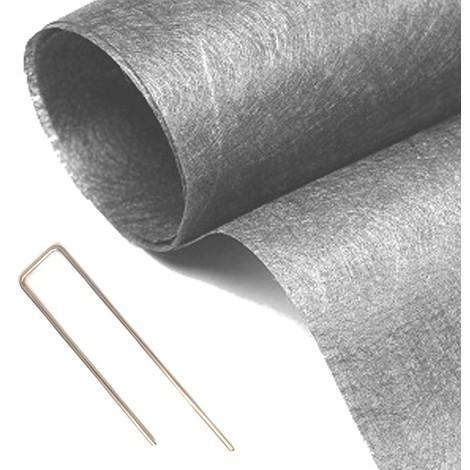 Pack MGS géotextile 90grs gris 2Mx25M soit 50M2 + 10 packs de 10 Hooks