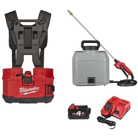 Pack MILWAUKEE backpack sprayer M18 BPFPH-401 - 1 battery 18V 4.0 Ah - 1 Charger - harness - Reservoir 15 L concrete