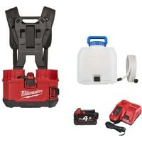 Pack MILWAUKEE backpack sprayer M18 BPFPH-401 - 1 battery 18V 4.0 Ah - 1 Charger - harness - Reservoir 15 L water
