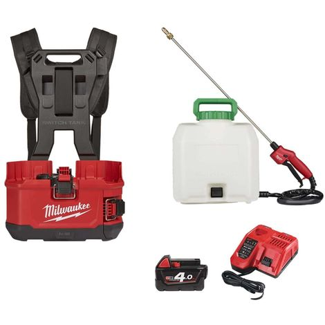 Pack MILWAUKEE backpack sprayer M18 BPFPH-401 - 1 battery 18V 4.0 Ah - 1 Charger - harness - Tank 15 L chemicals